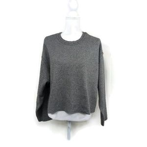 Zara Woman Medium Grey Cropped Sweat Shirt Raw
